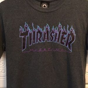 Thrasher blue and purple flame shirt